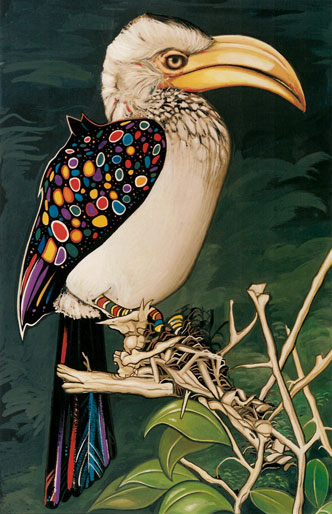 Hornbill - a wild colorful work of art in Watercolor and Acrylics